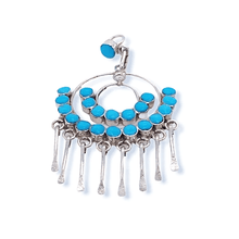 Load image into Gallery viewer, Native American Necklaces & Pendants - Zuni Semi-Circle Sleeping Beauty Turquoise Pendant