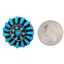 Load image into Gallery viewer, Native American Necklaces & Pendants - Zuni Sleeping Beauty Blossom Inlay Brooch  Pin/Pendant - Marcine Stead