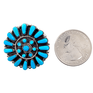 Native American Necklaces & Pendants - Zuni Sleeping Beauty Blossom Inlay Brooch  Pin/Pendant - Marcine Stead