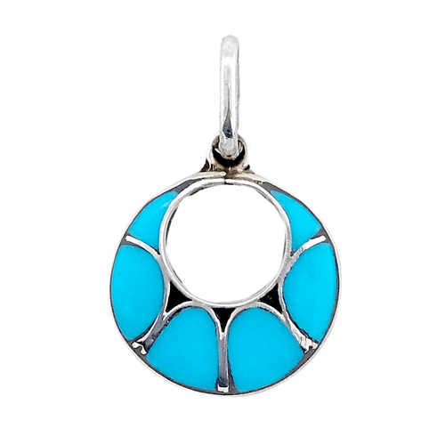 Native American Necklaces & Pendants - Zuni Sleeping Beauty Circular Pendant -Small