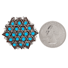 Load image into Gallery viewer, Native American Necklaces & Pendants - Zuni Sleeping Beauty Turquoise Geometric Blossom Pendant/Pin - Florenda Lonasee
