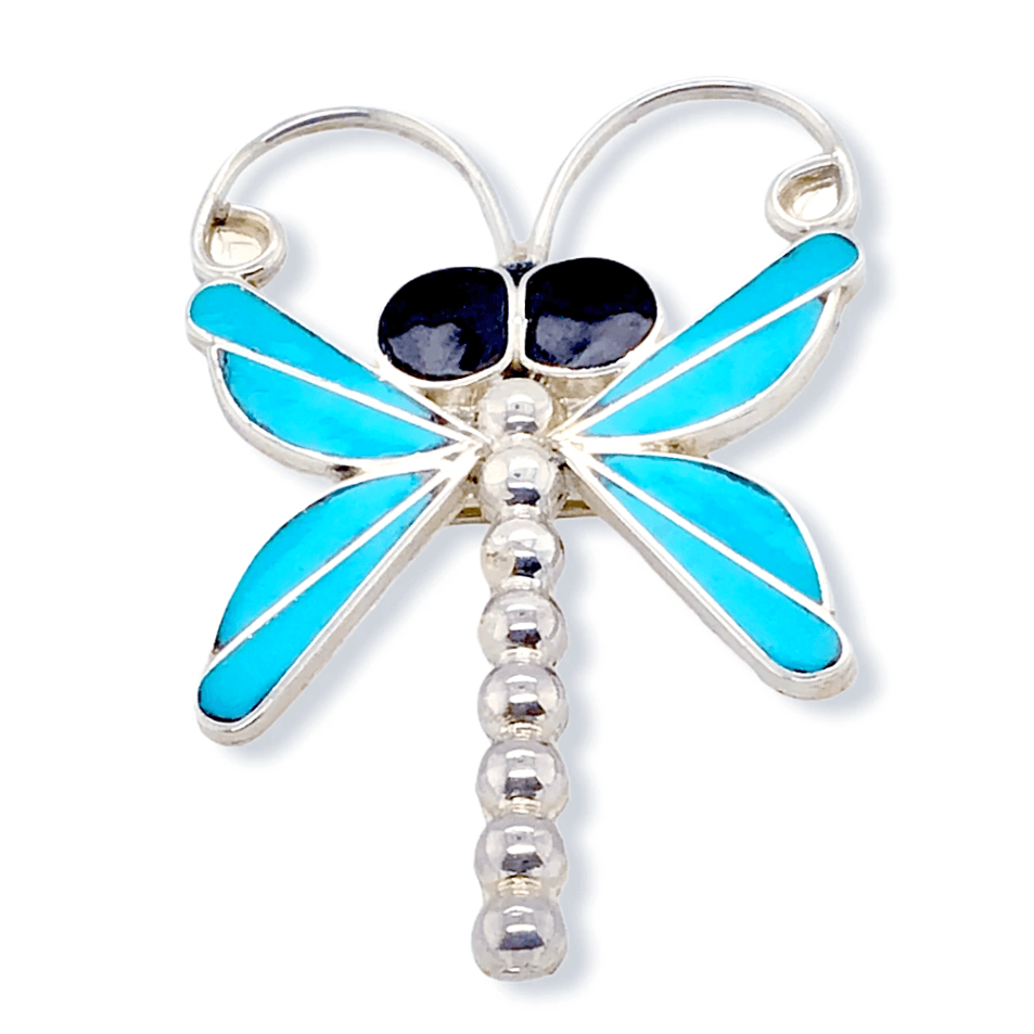 Native American Necklaces & Pendants - Zuni Wide-Eyed Dragonfly Brooch Pin/Pendant- Emma Edaakie