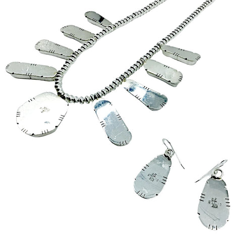 Native American Necklaces - Stunning Navajo White Buffalo Stone Collection Necklace & Earrings Set - Native American