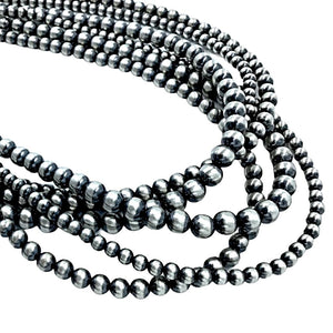 Native American Necklaces - Triple Strand Multi-Size Navajo Pearls Necklace - 36 Inch - Authentic Native American