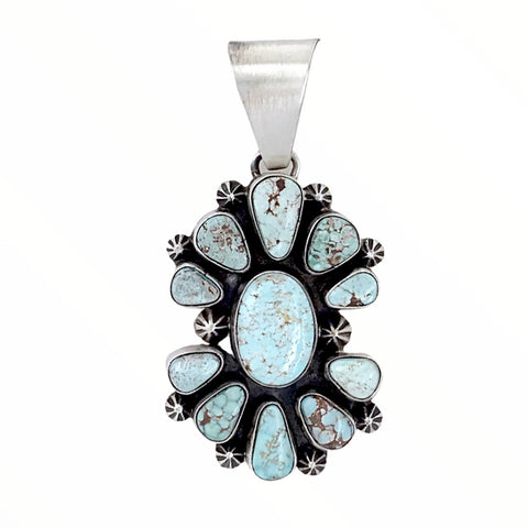 Native American Pendants - Copy Of Navajo Dry Creek Turquoise Cluster Sterling Silver Pendant - Livingston - Native American