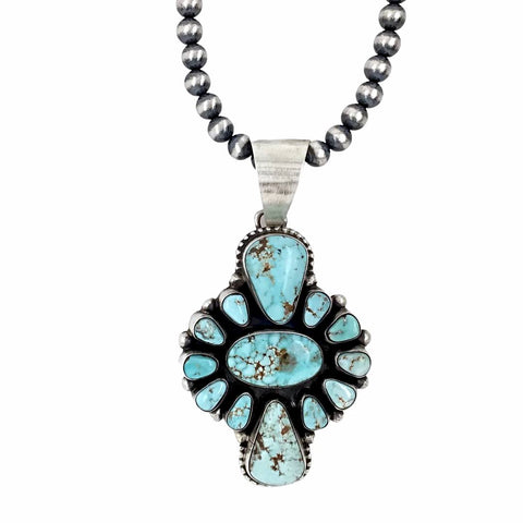 Native American Pendants - Large Navajo Dry Creek Turquoise Cluster Silver Drop Border Sterling Silver Pendant Navajo Pearls Necklace - Livingston - Native American