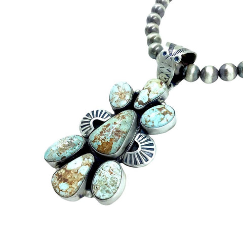 Native American Pendants - Navajo Dry Creek Turquoise Cluster Hand-Stamped Pendant - Livingston - Native American