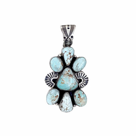 Native American Pendants - Navajo Dry Creek Turquoise Cluster Stamped Sterling Silver - Livingston - Native American