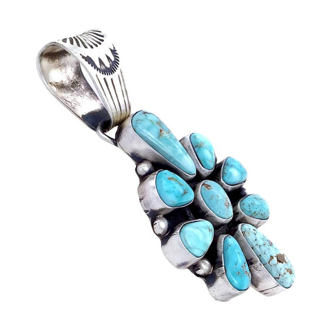 Image of Native American Pendants - Navajo Dry Creek Turquoise Cluster Stamped Sterling Silver Pendant - Bea Tom - Native American