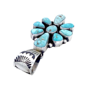 Native American Pendants - Navajo Dry Creek Turquoise Cluster Stamped Sterling Silver Pendant - Bea Tom - Native American