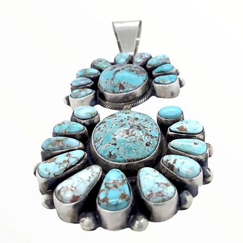 Native American Pendants - Navajo Dry Creek Turquoise Double Clusters Dangle Sterling Silver Pendant - Livingston - Native American