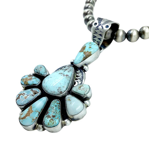 Image of Native American Pendants - Navajo Dry Creek Turquoise Fan Cluster Stamped Pendant - Livingston - Native American