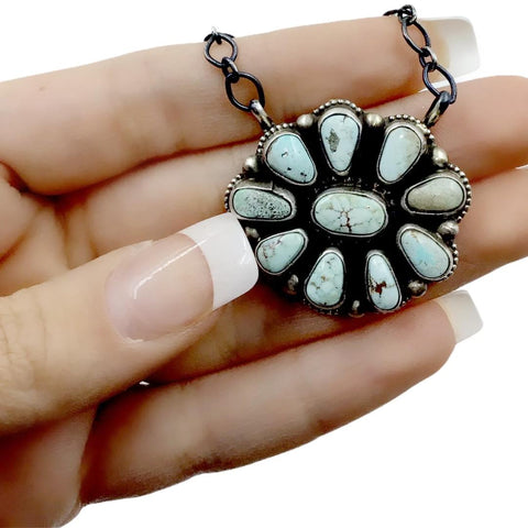 Native American Pendants - Navajo Dry Creek Turquoise Flower Cluster Chain Necklace -Kathleen Chavez - Native American