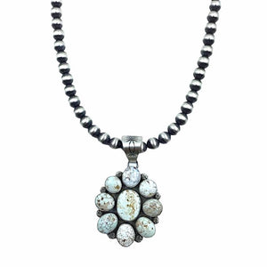 Native American Pendants - Navajo Dry Creek Turquoise Flower Cluster Navajo Pearls Necklace  - Mary Ann Spencer - Native American