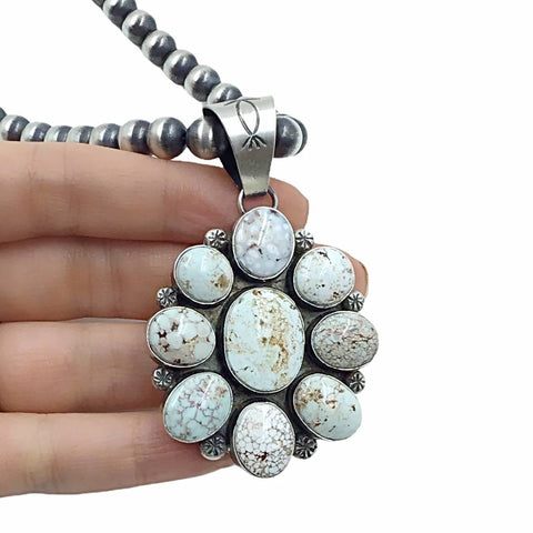 Image of Native American Pendants - Navajo Dry Creek Turquoise Flower Cluster Navajo Pearls Necklace  - Mary Ann Spencer - Native American