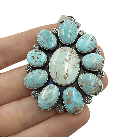 Native American Pendants - Navajo Dry Creek Turquoise Flower Cluster Stamped Sterling Silver Pendant - Mary Ann Spencer - Native American