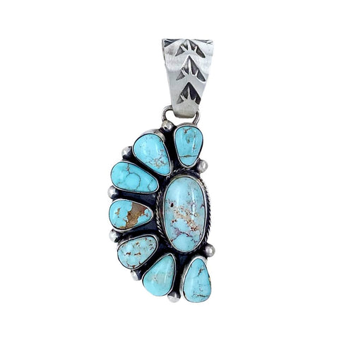 Native American Pendants - Navajo Dry Creek Turquoise Half Cluster Stamped Sterling Silver Pendant - Bea Tom - Native American