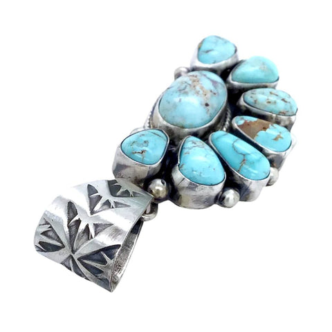 Image of Native American Pendants - Navajo Dry Creek Turquoise Half Cluster Stamped Sterling Silver Pendant - Bea Tom - Native American