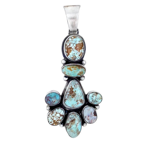 Image of Native American Pendants - Navajo Dry Creek Turquoise Long Cluster Pendant - Livingston - Native American