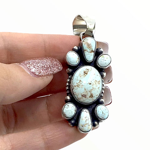 Native American Pendants - Navajo Dry Creek Turquoise Long Cluster Sterling Silver Pendant - Livingston - Native American