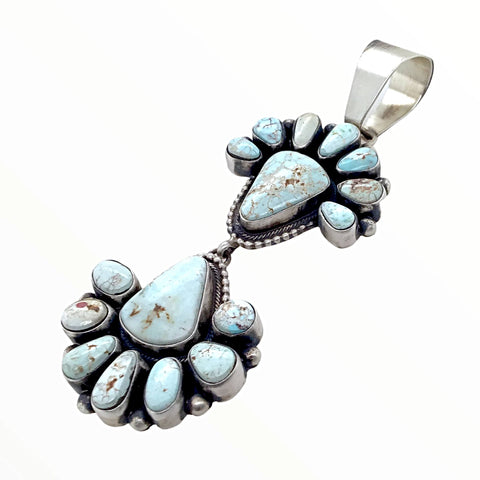 Image of Native American Pendants - Navajo Dry Creek Turquoise Triangle Double Clusters Dangle Sterling Silver Pendant - Livingston - Native American