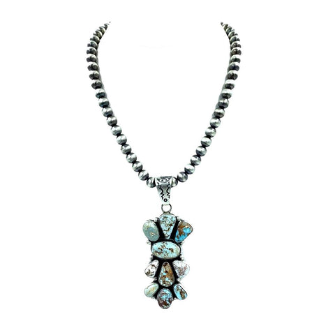 Native American Pendants - Navajo Dry Creek Turquoise Vertical Cluster Pendant - Bea Tom - Native American