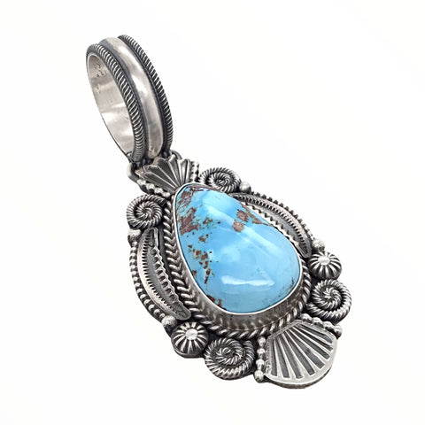 Image of Native American Pendants - Navajo Golden Hills Turquoise Sterling Silver & Coil Wire Design Pendant- Mike Calladitto - Native American