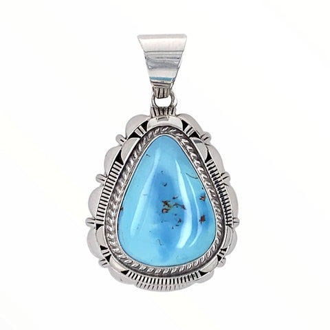 Native American Pendants - Navajo Golden Hills Turquoise Sterling Silver Teardrop Pendant- L.M.Y. - Native American