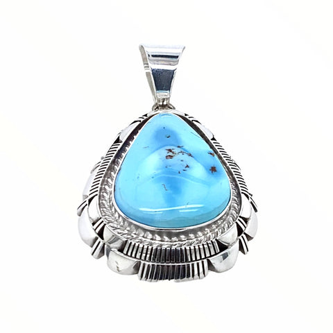 Image of Native American Pendants - Navajo Golden Hills Turquoise Sterling Silver Teardrop Pendant- L.M.Y. - Native American