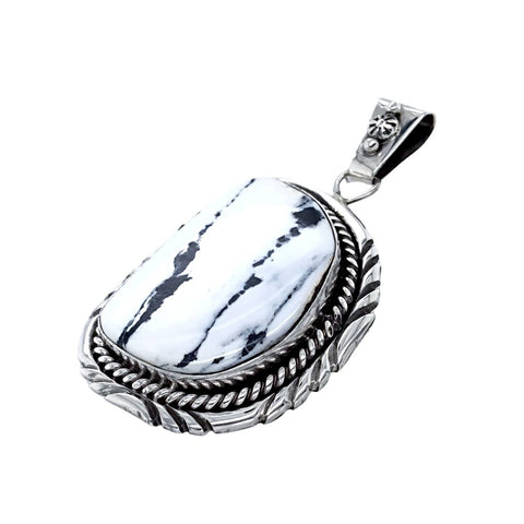 Image of Native American Pendants - Navajo Gorgeous White Buffalo Pendant - Sarah Yazzie - Native American
