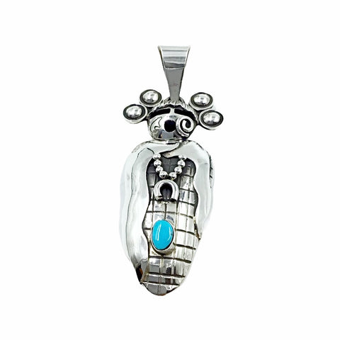 Native American Pendants - Navajo Large Corn Maiden Sleeping Beauty Turquoise Pendant - Alex Sanchez - Native American