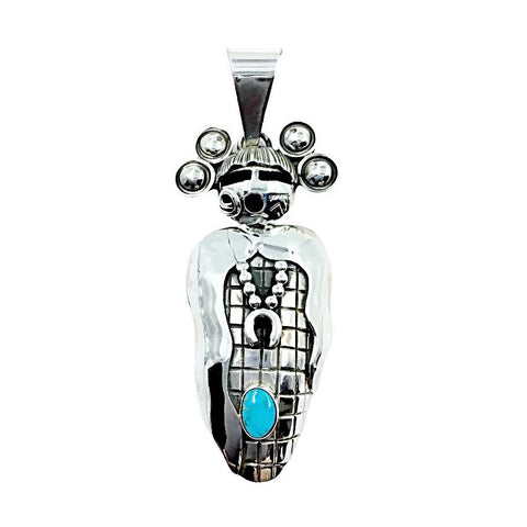Native American Pendants - Navajo Large Corn Maiden Sleeping Beauty Turquoise Sterling Silver Pendant - Alex Sanchez - Native American