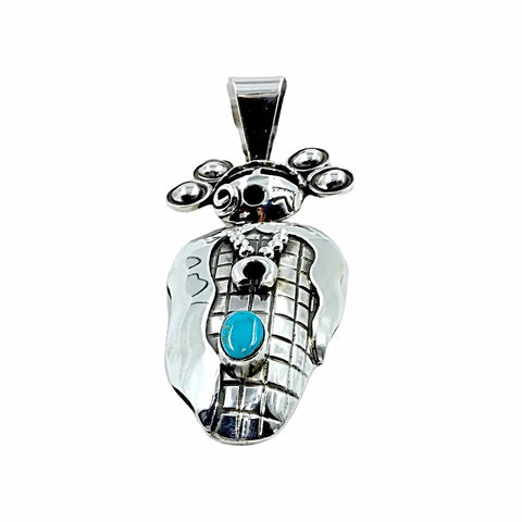 Image of Native American Pendants - Navajo Large Corn Maiden Sleeping Beauty Turquoise Sterling Silver Pendant - Alex Sanchez - Native American