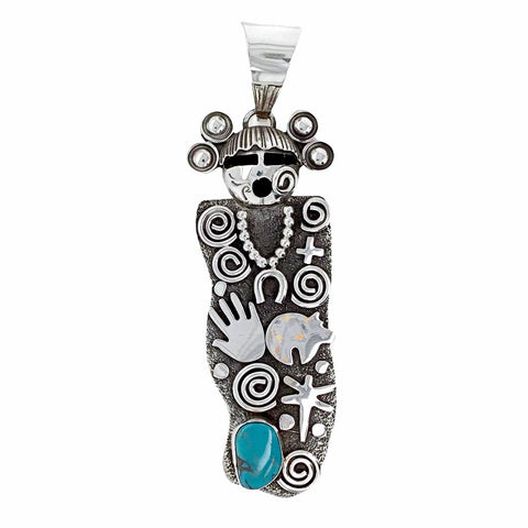 Native American Pendants - Navajo Large Kachina Petroglyphs Turquoise Kingman Pendant - Alex Sanchez - Native American