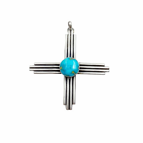 Image of Native American Pendants - Navajo Large Zia Sonoran Gold Turquoise Sterling Silver Pendant - Native American