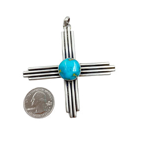 Native American Pendants - Navajo Large Zia Sonoran Gold Turquoise Sterling Silver Pendant - Native American