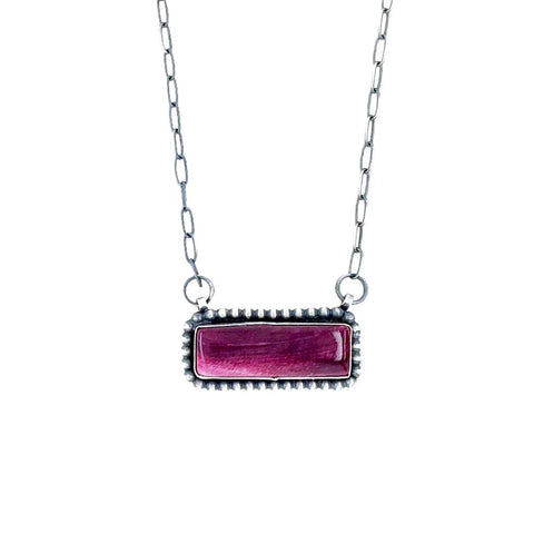Image of Native American Pendants - Navajo Purple Spiny Oyster Sterling Silver Narrow Bar Necklace - Native American