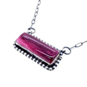 Native American Pendants - Navajo Purple Spiny Oyster Sterling Silver Narrow Bar Necklace - Native American