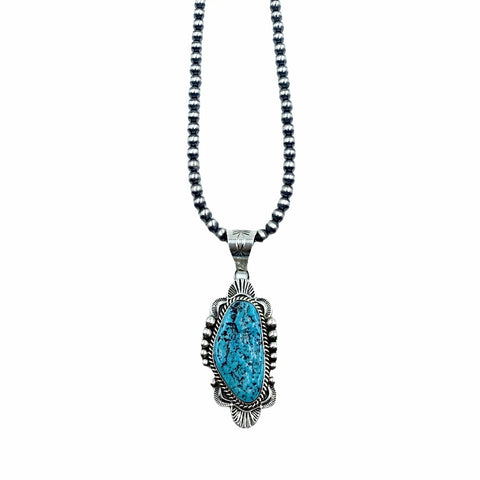 Native American Pendants - Navajo Sleeping Beauty Rough Turquoise Pendant & Navajo Pearls Necklace  - Mary Ann Spencer - Native American