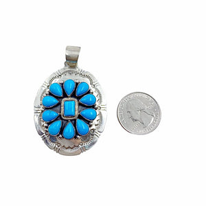 Native American Pendants - Navajo Sleeping Beauty Turquoise Stamped Pendant - Bobby Johnson - Native American