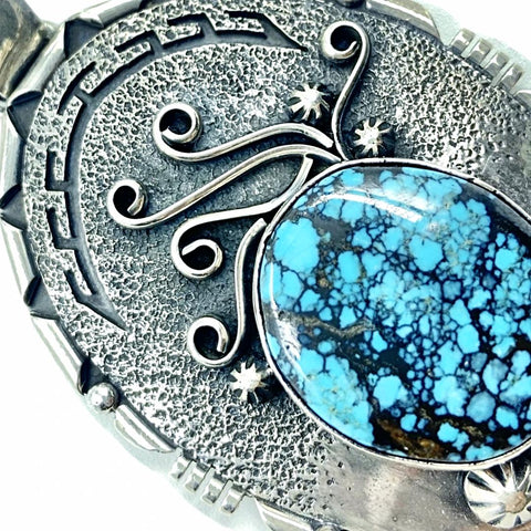 Image of Native American Pendants - Navajo Spiderweb Turquoise Tufa Cast Sterling Silver Embellished Pendant - Marita Benally - Native American