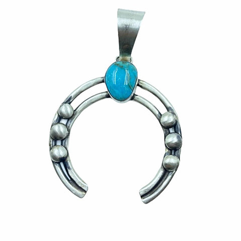 Image of Native American Pendants - Navajo Turquoise Naja Sterling Silver Drop Pendant - Native American