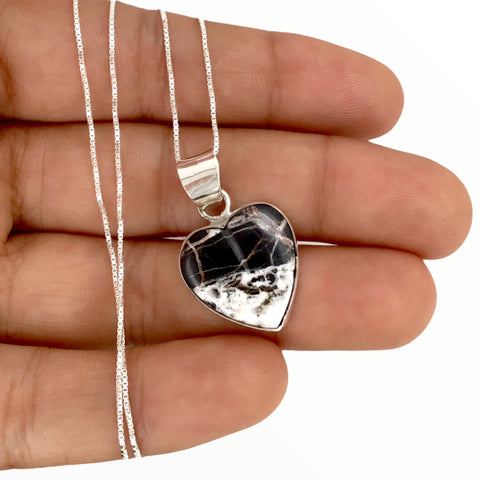 Native American Pendants - Navajo White Buffalo Heart Pendant & Fine Chain Necklace - Native American