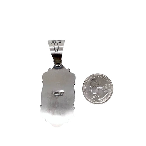 Native American Pendants - Navajo White Buffalo Old-Style Stamped Sterling Silver Pendant- Mary Ann Spencer - Native American