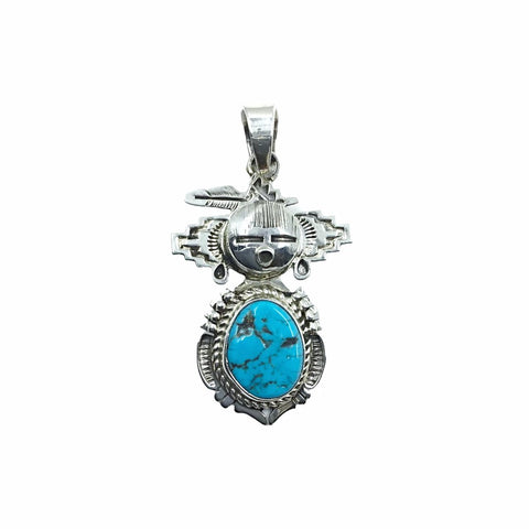 Native American Pendants - Original Bennie Ration Navajo Kingman Turquoise Oval Stone Kachina Sterling Silver Pendant - Native American