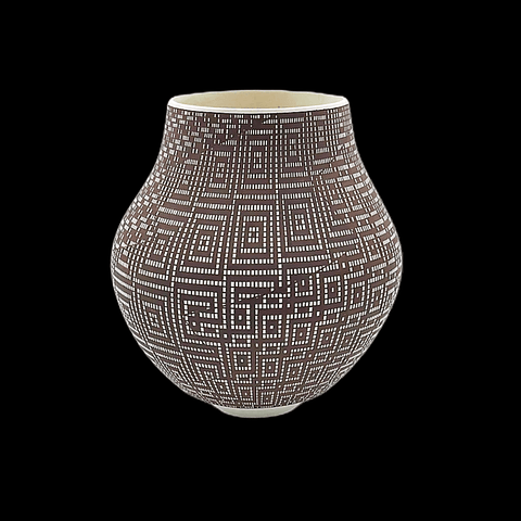Image of Native American Pot - Acoma Brown & White Pot By Frederica Antonio