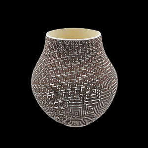 Native American Pot - Acoma Brown & White Pot By Frederica Antonio
