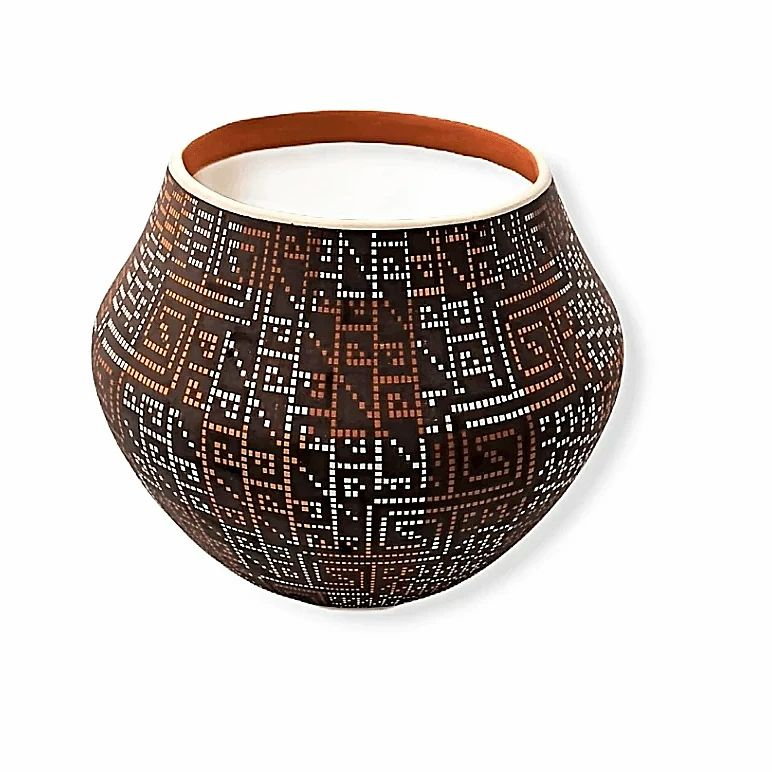 Native American Pot - Acoma Multi-Color Pot By Frederica Antonio