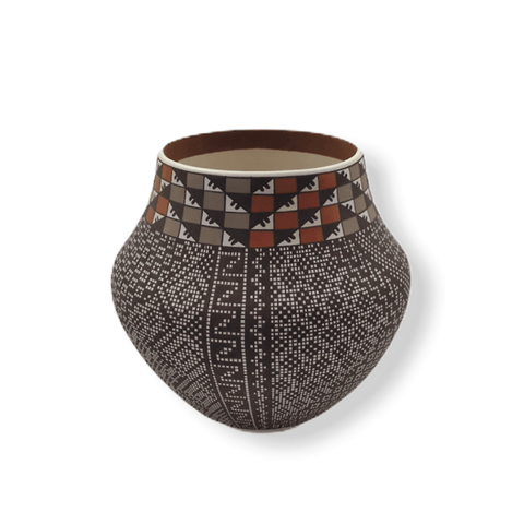 Image of Native American Pot - SOLD Acoma Brown & Orange Po.t By Frederica . Antonio