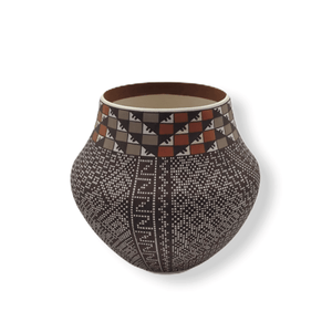 Native American Pot - SOLD Acoma Brown & Orange Po.t By Frederica . Antonio